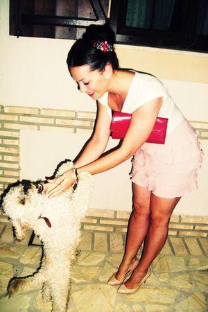 beige H&M t-shirt - pink vintage skirt - beige Zara shoes - pink Yves Saint Laur