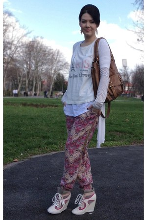 woman secret blouse - Orsay bag - Tally Weijl t-shirt - Pull & Bear pants