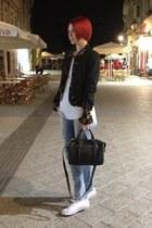 black Happening blazer - Motivi jeans - vintage shirt - Zara bag
