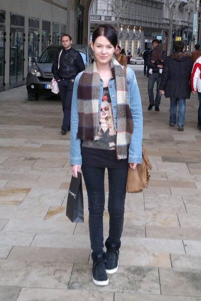denim Terranova jacket - Orsay bag - Tally Weijl blouse - Deichmann sneakers