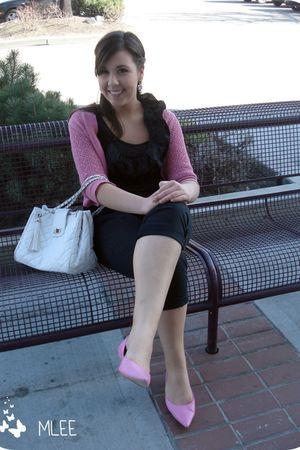zellers shirt - pants - Ebay purse - zellers shoes - cloe cardigan