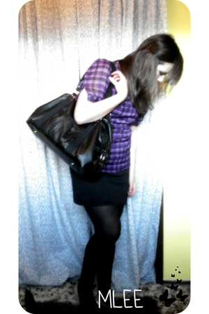 purple Walmart shirt - black skirt - black leggings - black H&M purse