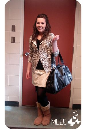 joe fresh style shirt - cardigan - skirt - boots - H&M purse - tights