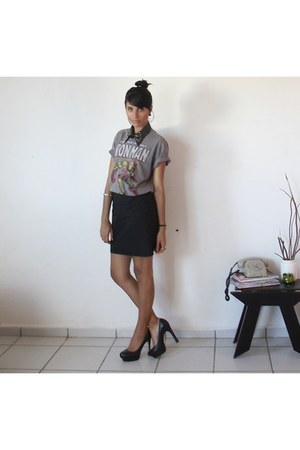 black skirt - heather gray necklace - silver blouse