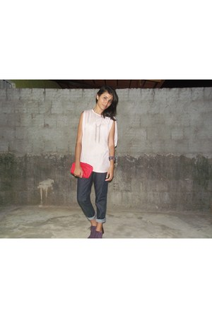 amethyst boots - red bag - navy pants - light pink blouse
