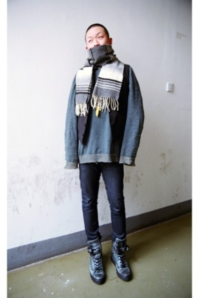 System scarf - A2A vest - DKNY sweater - april 77 jeans - Raf Simons boots - Fat