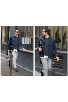 APC coat - harker bag - louis leeman loafers - Topman pants - Carven jumper