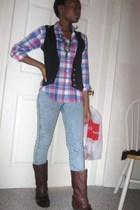 brown Bakers boots - pink  shirt - black  vest