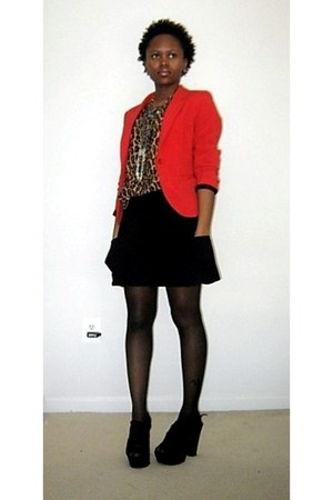 red H&M blazer - tawny leopard print thrifted blouse - black Aldo heels
