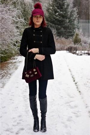 maroon zaful hat - maroon shein bag