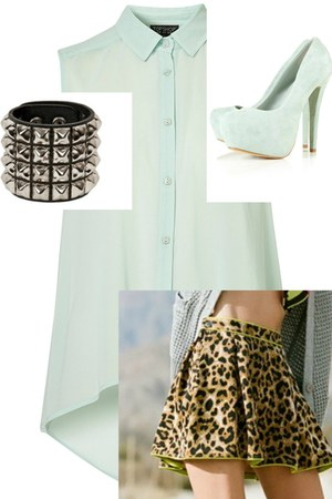 Mink Pink skirt - studded Trash and Vaudevile bracelet - heels Topshop heels