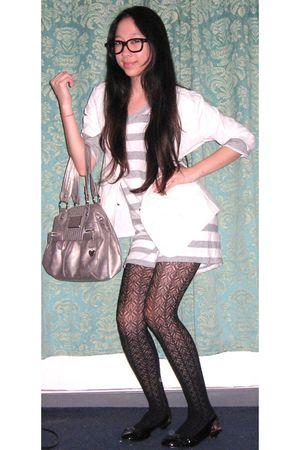black full tilt tights - black American Eagle shoes - gray Genevieve dress - whi