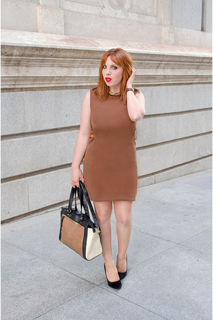 burnt orange Massimo Dutti dress - black Primark bag