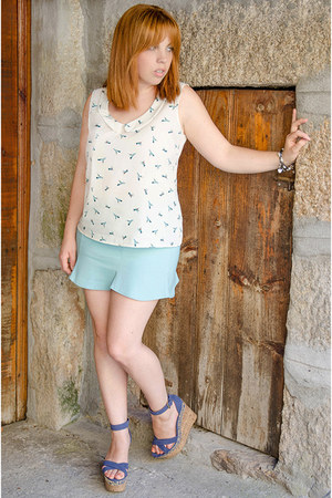 blue Stradivarius sandals - white Lefties blouse - light blue PERSUNMALL skirt