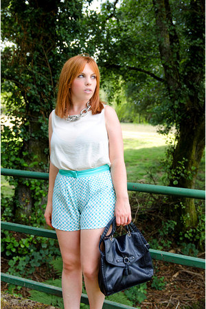 black H&M bag - aquamarine blackfive shorts - white Lefties blouse