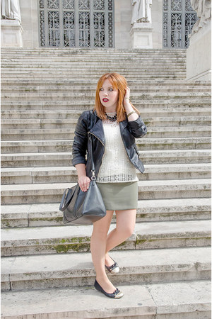 black MORGAN jacket - olive green Mango skirt - white Massimo Dutti top