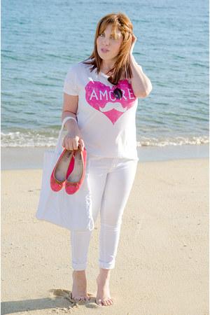 white H&M jeans - white Zara t-shirt - salmon Primark flats