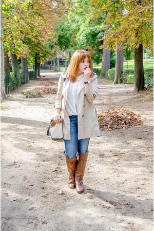 brown Massimo Dutti boots - navy Zara jeans - eggshell Stradivarius jacket