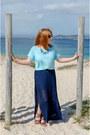 Sky-blue-mango-shirt-navy-coqueta-skirt