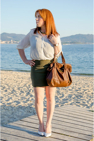 dark brown Daniel Wellintong watch - white Only shirt - olive green Mango skirt