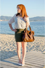 White-only-shirt-olive-green-mango-skirt-dark-brown-daniel-wellintong-watch