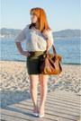 White-only-shirt-olive-green-mango-skirt-dark-brown-daniel-wellintong-watch