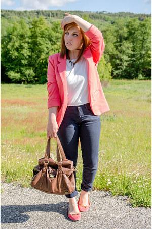 salmon PERSUNMALL blazer - brown suiteblanco bag - navy Zara pants