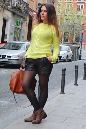 yellow Zara cardigan - brown Mango boots - dark brown Parfois bag