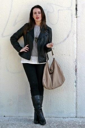 black Zara jeans - black Easy Wear jacket - neutral Dayaday bag