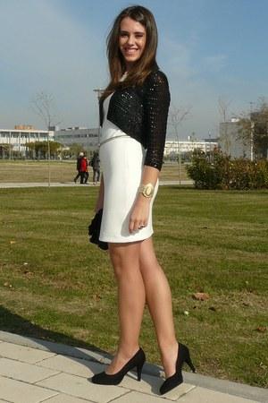 black Studio Classics jacket - white Zara dress - black Piar Burgos bag