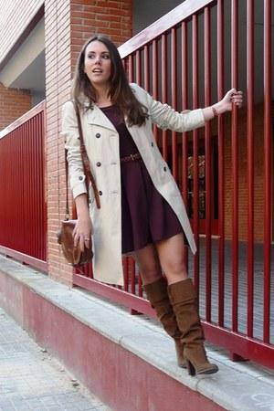 camel Zara coat - dark brown Zara boots - brick red pull&bear dress