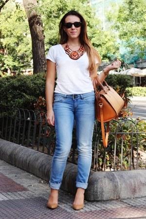 blue Mango jeans - camel suede Mango shoes - burnt orange leather Zara bag