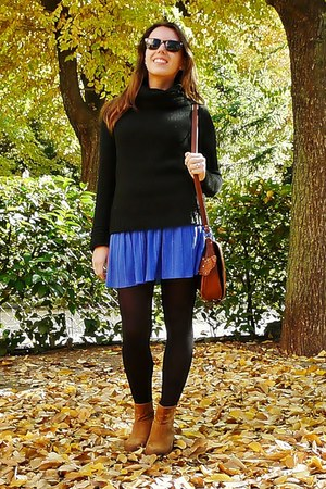 blue Zara skirt - dark brown Mango boots - black H&M sweater