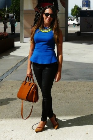 blue peplum Zara top - black coated Zara jeans - tawny leather Zara bag