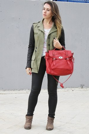 army green leather sleeves Zara jacket - light brown Mango boots