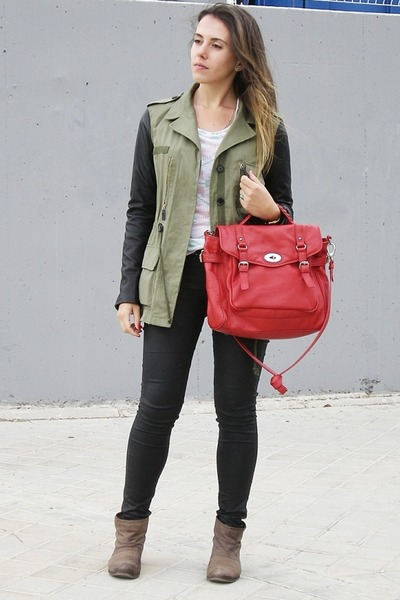 Army Green Leather Sleeves Zara Jackets, Light Brown Mango Boots ...