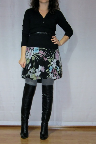 floral print dress - black cuissardes boots - black sweater