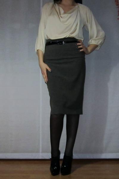 black Primadonna shoes - black omsa tights - heather gray pencil asos skirt