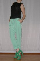 green sandals - black Zinco blouse - aquamarine Dorothy Perkins pants