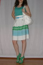 striped Dorothy Perkins skirt - white bag - turquoise blue cotton top