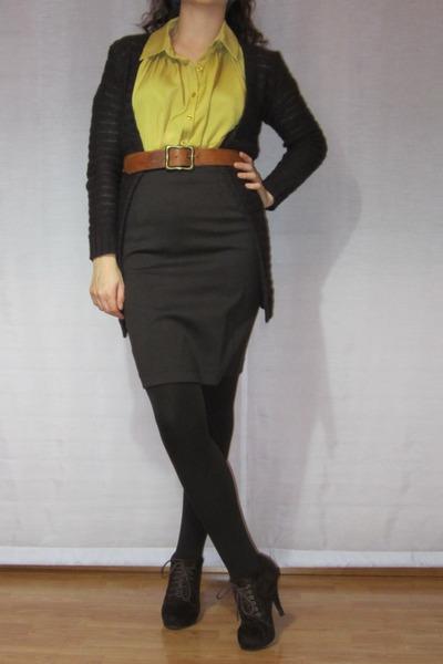 brown shoes - brown skirt - camel belt - brown cardigan
