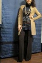 printed blouse - brown shoes - camel H&M cardigan - dark brown flare pants