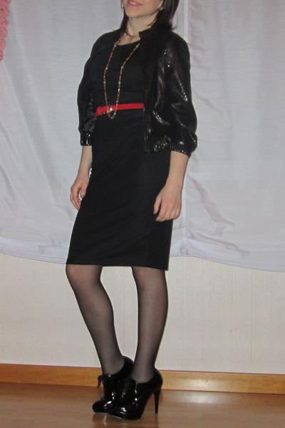 black Primadonna shoes - black dress - black BERSKA jacket - black omsa tights