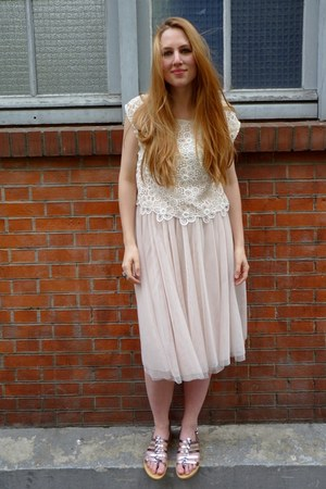 tutu skirt H&amp;M skirt - Les Tropeziennes sandals - lace top H&amp;M top
