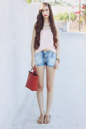 Zara bag - Bershka shorts - Mango belt - pull&amp;bear blouse - Zara sandals