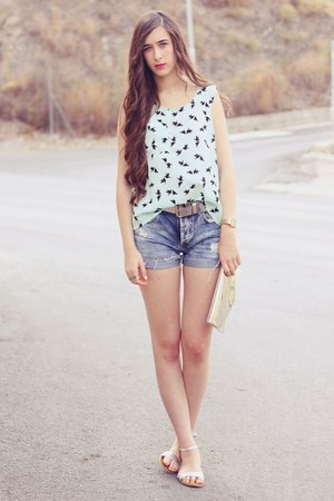 asos blouse - BLANCO bag - Zara shorts - Oysho sandals - pull&bear belt