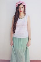 pull&bear skirt - pull&bear necklace - pull&bear blouse