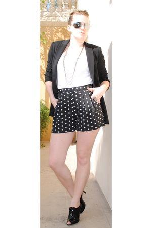black Nine West shoes - black Forever 21 shorts - black Zara blazer