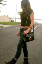 black tassel Dotti top - black Wildpair boots - dark gray thrifted jeans