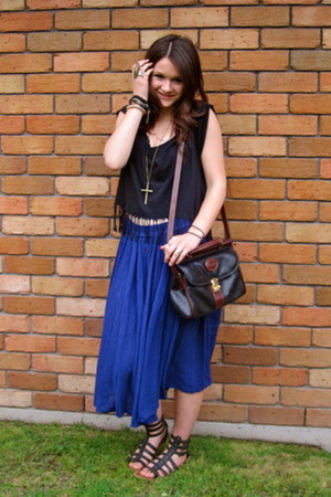 blue thrifted skirt - black and brown thrifted bag